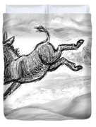 Donkey Frolicking In The Snow Duvet Cover