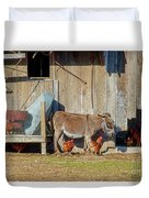 Donkey Goat And Chickens Duvet Cover