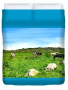 Donkeys Under A Blue Sky In Green Hills Duvet Cover