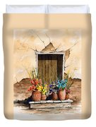 Door With Flower Pots Duvet Cover