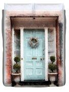 Doors Of Boston Blue Duvet Cover