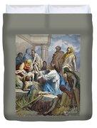 Dor�: Jesus Healing Sick Duvet Cover