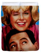 Doris Day Rock Hudson Duvet Cover by Paul Van Scott