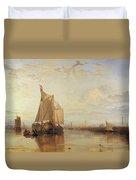 Dort Or Dordrecht The Dort Packet Boat From Rotterdam Becalmed Duvet Cover