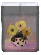 Dotted Vase With Yellow Flowers Duvet Cover