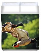 Double Green Heads In Flight Duvet Cover