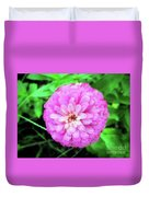 Double Pink Zinnia Duvet Cover