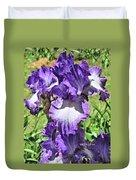 Double Ruffled Purple Iris Duvet Cover