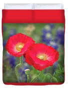 Double Take-two Red Poppies. Duvet Cover