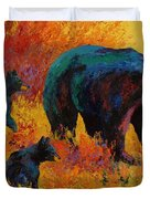 Double Trouble - Black Bear Family Duvet Cover by Marion Rose