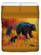Double Trouble - Black Bear Family Duvet Cover