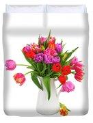 Double Tulips Bouquet Duvet Cover