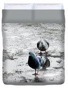 Doves On The Street Duvet Cover