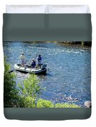 Down River Fly Fishing Duvet Cover