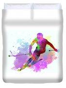 Downhill Skier Duvet Cover