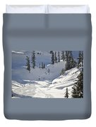 Downhill Skiers Duvet Cover