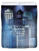 Downtown Abstract - Blue Mist Duvet Cover