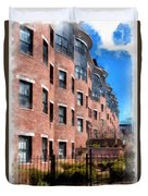 Downtown Burlington Vermont Watercolor Duvet Cover