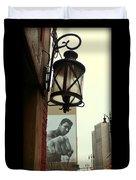 Downtown Detroit Light Fixture With Muhammad Ali Billboard Duvet Cover
