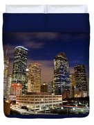 Downtown Houston At Night Duvet Cover by Olivier Steiner