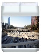 Downtown Los Angeles. 110 Freeway And Wilshire Bl Duvet Cover