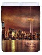 Downtown Manhattan September Eleventh Duvet Cover by Chris Lord