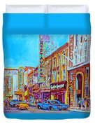 Downtown Montreal Street Rue Ste Catherine Vintage City Street With Shops And Stores Carole Spandau  Duvet Cover