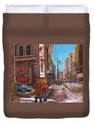 Downtown Montreal Streetscene At La Senza Duvet Cover