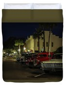 Downtown Old Cars Duvet Cover