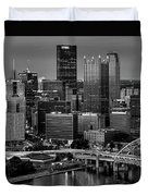 Downtown Pittsburgh At Twilight - Black And White Duvet Cover
