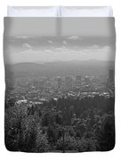 Downtown Portland Black And White Duvet Cover