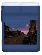 Downtown Racine At Dusk Duvet Cover by Mark Czerniec