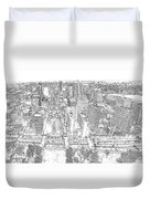 Downtown St. Louis Panorama Sketch Duvet Cover