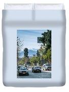 Downtown Street In Santiago De Chile City And Andes Mountains Duvet Cover