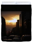 Downtown Sunset From Parking Lot Duvet Cover