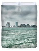 Downtown Windsor Canada City Skyline Across River In Spring Wint Duvet Cover