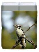 Downy Woodpecker In Fall Duvet Cover
