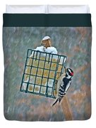 Downy Woodpecker In The Snow Duvet Cover