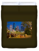 Dowtown Houston By Night Duvet Cover