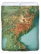 Dpr Korea 3d Render Topographic Map Border Duvet Cover