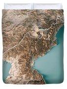 Dpr Korea 3d Render Topographic Map Neutral Border Duvet Cover