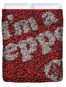 Dr. Pepper Bottle Cap Mosaic Duvet Cover by Paul Van Scott