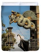 Dragon And Umbrella Sing In Barcelona Duvet Cover