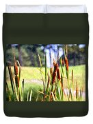 Dragon Fly And Cattails In Watercolor Duvet Cover