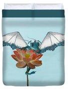 Dragon Peeks Around Flower Duvet Cover