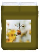 Dragonfly On Dead Bud Duvet Cover