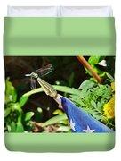 Dragonfly On Flag Duvet Cover