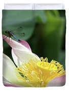 Dragonfly On Lotus Duvet Cover by Sabrina L Ryan