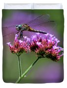 Dragonfly On Purple Verbena Duvet Cover