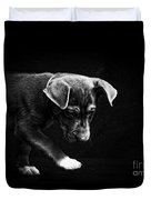 Dramatic Black And White Puppy Dog Duvet Cover